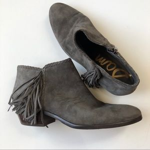 Sam Edelman Grey Suede Fringe Booties